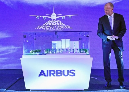 Tom Enders, le PDG d'Airbus Group lors de l'Airbus India Training Centre le 15 mars ©Bloomberg via G