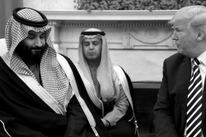 Mohamed Bin Salman avec Donald Trump, le 20 mars à Washington.